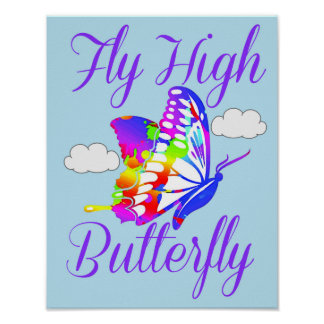 Butterfly Poster for Kids Room, Nursery, Playroom