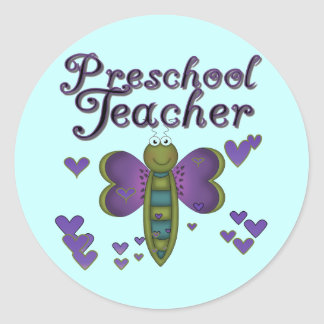Butterfly Preschool Teacher Tshirts and Gifts Classic Round Sticker