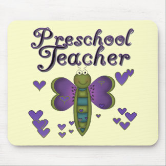Butterfly Preschool Teacher Tshirts and Gifts Mouse Mat