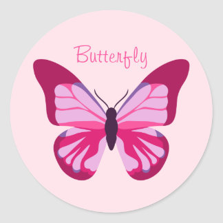 Butterfly Pretty Pink Purple Classic Round Sticker