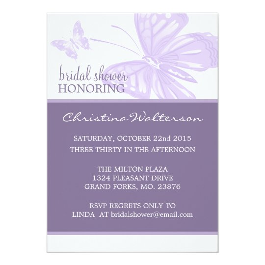 Butterfly Purple Bridal Shower Invites