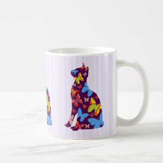 Butterfly Purple Cat Silhouette Mug