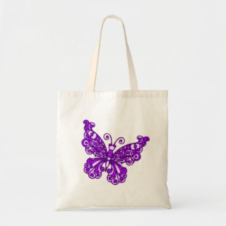 Butterfly purple & cream tote bag