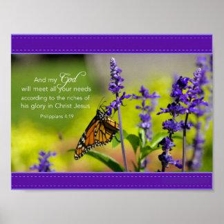Butterfly, Purple flowers Poster