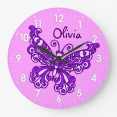 Butterfly Purple Girls Room Name Wall Clock at Zazzle