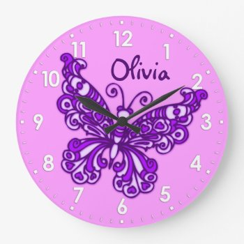 Butterfly Purple Girls Room Name Wall Clock by Mylittleeden at Zazzle