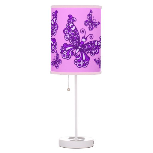 butterfly purple girls room patterned graphic lamp zazzle. Black Bedroom Furniture Sets. Home Design Ideas