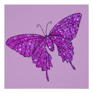 Butterfly Purple Lilac Glittery Sparkle Poster