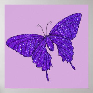 Butterfly Purple Violet Glittery Sparkle Poster