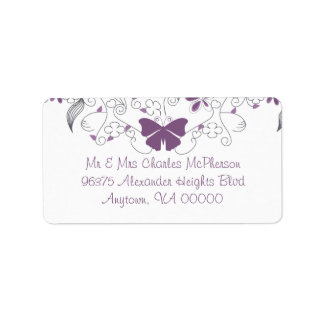 Butterfly Purple Whimsy RSVP Address Labels