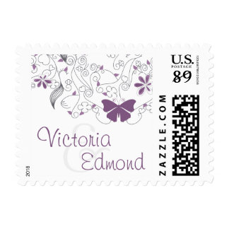 Butterfly Purple Whimsy Wedding Postage
