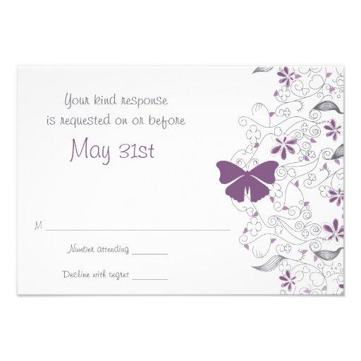 Butterfly Purple Whimsy Wedding RSVP Card Custom Invite