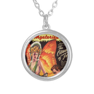 Butterfly Queen and her Dogs Silver Plated Necklace