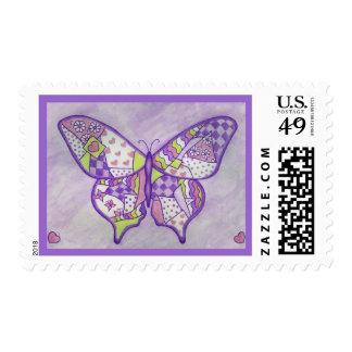 Butterfly Quilt Folk Art Postage Stamp