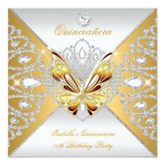 Butterfly Quinceanera 15th Party Gold Silver Tiara Card