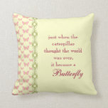 Butterfly Quote Pillow Throw Pillow