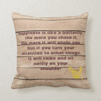 Butterfly Quote with Wood Background Throw Pillows