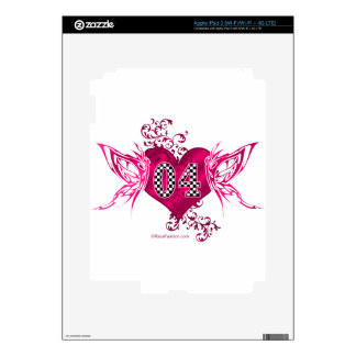 Butterfly racing number 04 checkered flag pattern skin for iPad 3