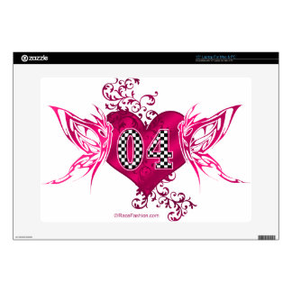 Butterfly racing number 04 checkered flag pattern skin for laptop