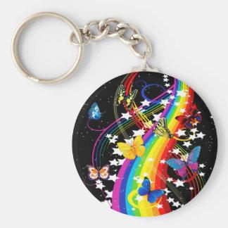 Butterfly Rainbow Basic Round Button Keychain