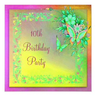 Butterfly Rainbow Girls 10th Birthday Party Card