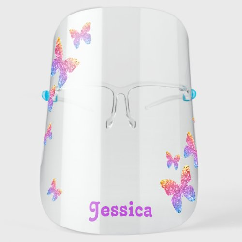 Butterfly Rainbow Glitter Cute Girly Personalized Face Shield