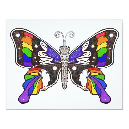 Butterfly Rainbow invitations - 5.5 x 4.25