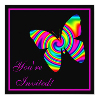 Butterfly Rainbow Twirl Customized Announcement Card