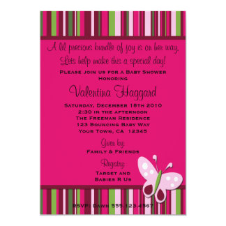 Butterfly Rasberry Pink Lime Green Party Invite