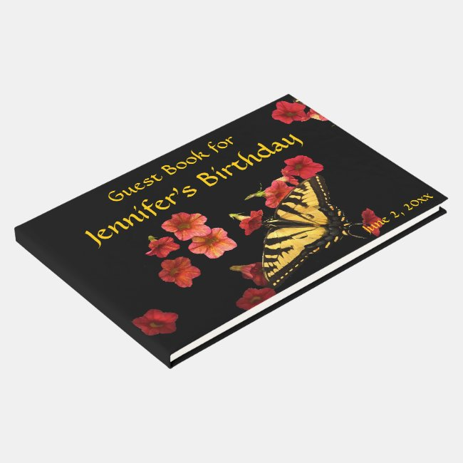 Butterfly Red Flowers Birthday Party Guest Book