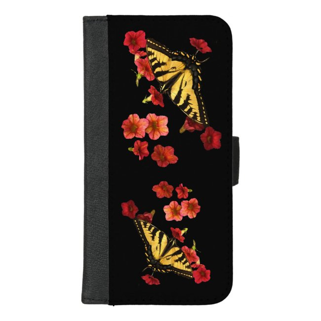 Butterfly Red Flowers iPhone 8/7 Plus Wallet Case