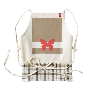 Butterfly Red on White Band Zazzle HEART Apron