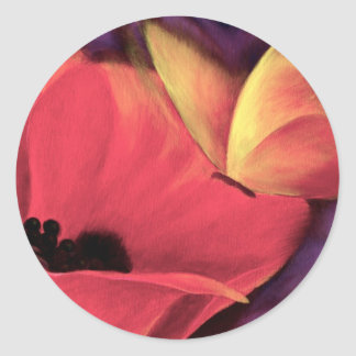 Butterfly Red Poppy Art Floral Painting - Multi Classic Round Sticker