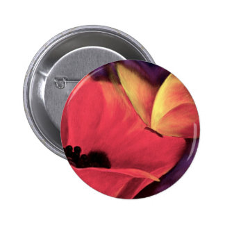 Butterfly Red Poppy Art Floral Painting - Multi Pinback Button
