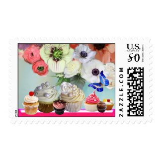 BUTTERFLY RED ROSES,ANEMONES BIRTHDAY CUPCAKES POSTAGE