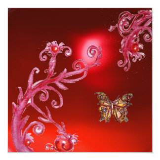 BUTTERFLY  RED RUBY bright pink, Custom Announcement