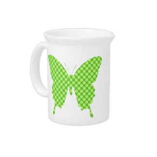 Butterfly, retro dots, shades of lime green beverage pitcher