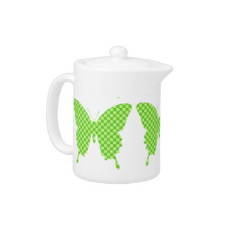 Butterfly, retro dots, shades of lime green teapot