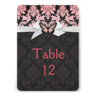 Butterfly Ribbon Damask Black Table card