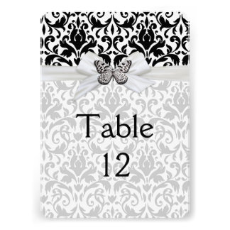 Butterfly Ribbon Damask Table card