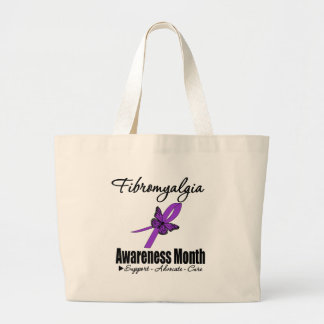 Butterfly Ribbon - Fibromyalgia Awareness Month Canvas Bags