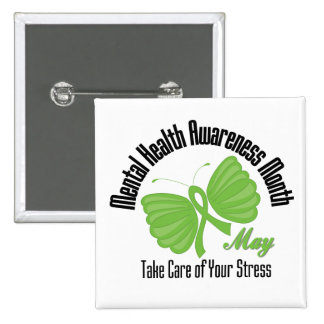 Butterfly Ribbon Mental Health Awareness Month 2 Inch Square Button
