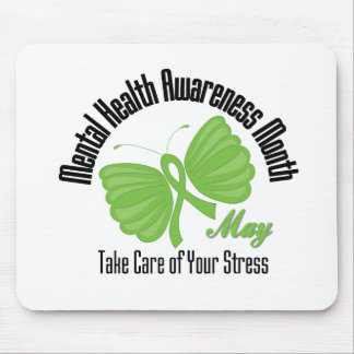 Butterfly Ribbon Mental Health Awareness Month Mouse Pad