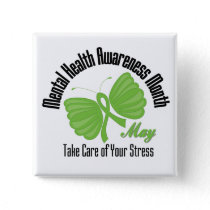 Butterfly Ribbon Mental Health Awareness Month Pinback Button