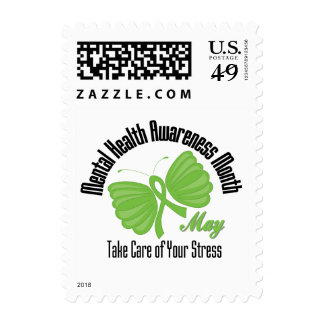 Butterfly Ribbon Mental Health Awareness Month Stamps
