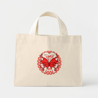 Butterfly Ribbon  Mesothelioma Awareness Canvas Bags