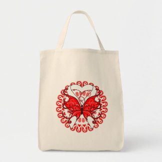 Butterfly Ribbon  Mesothelioma Awareness Tote Bags