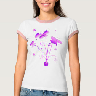 Butterfly Ringer Graphic T-shirt