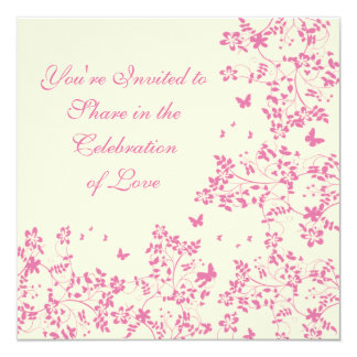 "Butterfly Romance / Blushing Pink 5.25"" Square Invitation Card"