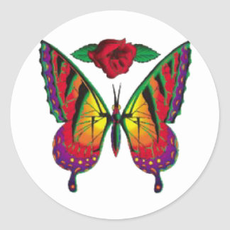 butterfly rose classic round sticker